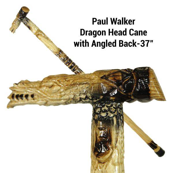 Paul Walker Dragon Head Cane with Angled Back-37""